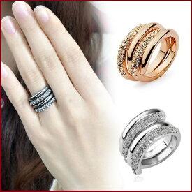 指輪 リング 大人のファッションを上手に引き立てるフェミニンな2連ファッションリング K18金RGP 彼女 女性 誕生日 プレゼント ギフト クリスマス 大人 可愛い おしゃれ 金属アレルギー