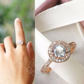 指輪 リング 若々しさと気品が漂う 煌き1.1ctダイヤモンドCZジュエリー彩石 K18RGP 彼女 女性 誕生日 プレゼント ギフト クリスマス 大人 可愛い おしゃれ 金属アレルギー