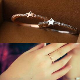 指輪 リング ピンキーリング 大きいサイズ 星 スタース ワロフスキー SWAROVSKI ハーフエタニティ あす楽 レディースアクセサリー 彼女 女性 誕生日 プレゼント ギフト クリスマス 大人 可愛い おしゃれ 金属アレルギー