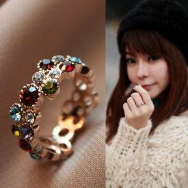 指輪 リング 指にさりげなく光るロマンチックな輝きにカラフルダイヤモンドCZ彩石リング K18金RGP 彼女 女性 誕生日 プレゼント ギフト クリスマス 大人 可愛い おしゃれ 金属アレルギー