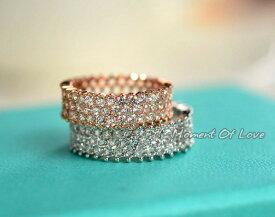 指輪 リング スワロフスキー ハーフエタニティリング煌きダイヤモンドCZ彩石満載/K18RGP 彼女 女性 誕生日 プレゼント ギフト クリスマス 大人 可愛い おしゃれ 金属アレルギー