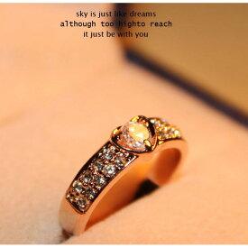 指輪 リング ピンキー 大きいサイズス ワロフスキー SWAROVSKI ハート あすらく K18 レディースアクセサリー 彼女 女性 誕生日 プレゼント ギフト クリスマス 大人 可愛い おしゃれ 金属アレルギー