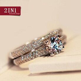 リング 指輪 レディース 女性 スワロフスキー K18RGP 結婚指輪 2点セット 大きいサイズ ゴールド ホワイトゴールド 7号〜19号 金属アレルギー