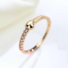 リング 指輪 ハート スワロフスキー 華奢 可愛い 重ね付け ピンキー 大きいサイズ 4〜23号 金属アレルギー