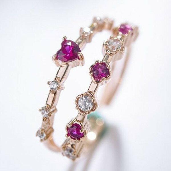 リング 指輪 レディース スワロフスキー 華奢 重ね付け フリーサイズ 誕生石 ピンクゴールド 10〜13号対応 金属アレルギー