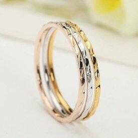 指輪 リング 極細 3本セット シンプル ピンキー 大きいサイズ K18金RGP 金属アレルギー レディース