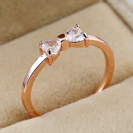 指輪 リング レディース K18金RGP ダイヤモンドCZ リボン彩石 可愛い 女子 金属アレルギー