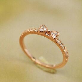指輪 リング 大人の指先に遊び心と優美さをアピールしてくれる/リボンリング/ハーフエタニティリング/ピンキー K18金RGP 金属アレルギー