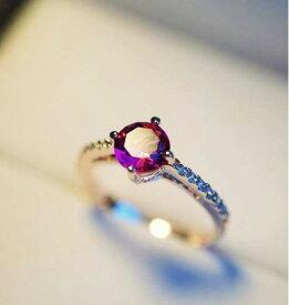 指輪 リング K18 スワロフスキーレッド彩石リングピンクゴールドK18RGP/指輪 金属アレルギー対応