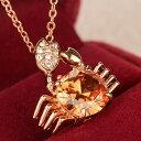 ネックレス スワロフスキー カニ 蟹 星座 守り 誕生石 ピンクゴールド K18金RGP プレゼント 金属アレルギー 彼女