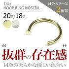 ■14Ktフープリングノストリル01/20G[ボディーピアス/ボディピアス/ストレート型/ノストリル]品数豊富!ボディーピアス専門店JEWEL's