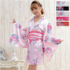 b78f58c3fb59b 着物 ドレス 和風 花魁 コスプレ よさこい 衣装 浴衣ドレス 大人 Jewel ジュエル 花柄サテンミニ