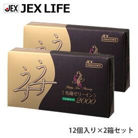 ジェクス コンドーム うすうす R2000 12個入 2箱セット ゼリヤコート ラテックス製 コンドム 避妊具 コンドー スキン 性具 ゴム condom セット 避孕套 安全套 套套