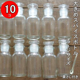【10個セット】大きめスパイスボトル L (ラージ)+ステンレス薬さじS 1本【大きいスパイスボトル 調味料入れ おしゃれ 調味料入れ セット 調味料 ボトル スパイスボトルセット ガラス 調味料入れ 塩コショー入れ 密閉 七味 容器 日本製 塩 薬さじ】