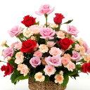 【華やかなアレンジ・バラ・ピンクレッド系】お祝い・お誕生日・結婚お祝・出産お祝・開店お祝・結婚記念日・お礼・発表会・季節のお花…