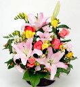 【ユリ・バラ・色ミックス・アレンジ】お祝い・お誕生日・結婚お祝・出産お祝・移転祝い・開店祝い・開業祝い・結婚記念日・お礼・発表…