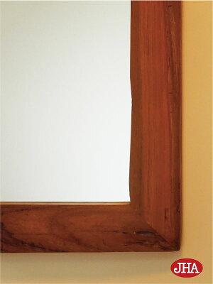 《新作》【チーク無垢材】壁掛け鏡ウォールミラー【JHAアンティークミラー】ウッディ・レトロモダン(オールドチーク古木)W400×H600(中)木製木枠ミラー鏡ミラー(玄関洗面トイレおしゃれ店舗)