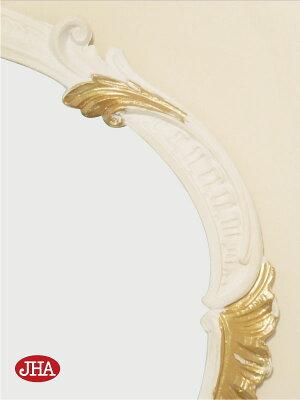 鏡・ミラー・壁掛け鏡・ウォールミラー【イタリア製】【JHAアンティーク風ミラー】オーバル・エレガンス(ホワイト&ゴールド)楕円W520×H410