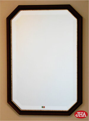 (デラックス:面取り)【送料無料】八角鏡八角ミラー壁掛け鏡ウォールミラー【イタリア製】【JHAアンティーク風水ミラー】モダン(アイボリー・ゴールド)八角形W455×H655(M)IE-144(風水鏡玄関洗面トイレおしゃれ店舗)お祝いギフト