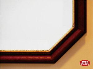 オリジナル(デラックス:面取り)【送料無料】八角鏡八角ミラー壁掛け鏡ウォールミラー【イタリア製】【JHAアンティーク風水ミラー】モダン(ブラウン・ゴールド)八角形W455×H655(M)IE-144(風水鏡玄関洗面トイレおしゃれ店舗)お祝いギフト
