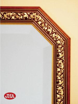 (デラックス:面取り)姿見姿見鏡【イタリア製】【JHAアンティーク風水ミラー】エクセレント(ブラウン・ゴールド)八角形W375×H1375IE-95八角鏡八角ミラー壁掛け鏡壁掛けミラーウォールミラー(風水鏡玄関全身ミラーおしゃれ店舗)