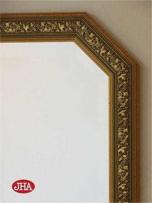 (再入荷!)姿見姿見鏡【イタリア製】【JHAアンティーク風水ミラー】(アイボリー・ゴールド)八角形W375×H1375鏡ミラー壁掛け鏡壁掛けミラーウォールミラー(風水鏡玄関全身鏡全身ミラーおしゃれ店舗)