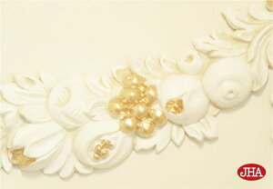 【イタリア製】【JHAアンティーク風】壁掛けレリーフ・フルーツ柄(アイボリー&ゴールド)W590×D25×H210