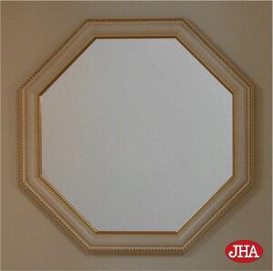 (新作)風水八角ミラー開運鏡壁掛け鏡風水鏡おしゃれオリジナル八角鏡八角ミラーイタリア製【JHAアンティーク風水ミラー(木製フレーム)】グロリア(アイボリー・ゴールド)正八角形(M)W502×H502IP-123ウォール玄関洗面トイレ木枠北欧