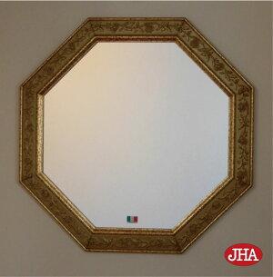 【JHAアンティーク風水ミラー】(エレガント・ゴールド)八角形W495×H49