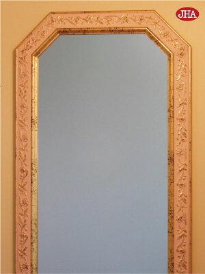 姿見・姿見鏡【イタリア製】【JHAアンティーク風水ミラー】(アイボリー・ゴールド)八角形W375×H1375