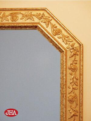 【JHAアンティーク風水ミラー】(エレガント・ピンク&ゴールド)八角形W495×H495