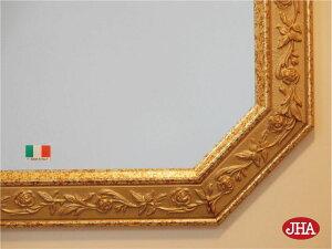 (新作)風水八角ミラー開運鏡壁掛け鏡風水鏡おしゃれオリジナル八角鏡八角ミラーイタリア製【JHAアンティーク風水ミラー(木製フレーム)】ローズ(ブラウン&ゴールド)正八角形(M)W493×H694IE-165玄関洗面トイレ木枠かわいい姫バラ