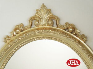 【送料無料】鏡・ミラー・壁掛け鏡・ウォールミラー・オーバル【イタリア製】【JHAアンティーク風ミラー】クラッシック・エレガンス(ゴールド)楕円W460×H620