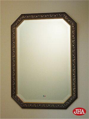 鏡・ミラー・壁掛け鏡・ウォールミラー【イタリア製】【JHAアンティーク風水ミラー】(ダークグリーン・ゴールド)八角形W475×H676