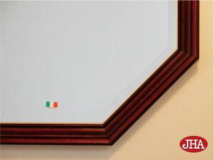 (新作)大型風水八角ミラー開運鏡壁掛け鏡風水鏡おしゃれオリジナル八角鏡八角ミラーイタリア製【JHAアンティーク風水ミラー(木製フレーム)】シンプル(ホワイト・シルバー)正八角形(L)W576×H576IE-151ウォールミラー店舗玄関洗面トイレ木枠