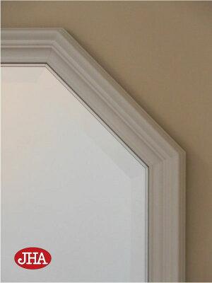≪新作≫【送料無料】鏡ミラー壁掛け鏡ウォールミラー【イタリア製】【JHAアンティーク風水ミラー】シンプル(アイボリー・ゴールド)正八角形W477×H477IE-104(デラックス:面取り加工)(オリジナル風水鏡玄関洗面トイレおしゃれ店舗)