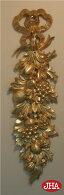 【イタリア製】【JHAアンティーク風】壁掛けレリーフ・リボン&フルーツ柄(ゴールド)《縦型》W170×D30×H600クリスマス