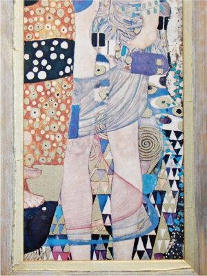 《新作》【送料無料】額絵絵画壁掛け【イタリア製】【JHAアンティークフレーム】世界の名画クリムト(母と子)&ナチュラル・ゴールドフレーム(S)W233×H665IG-95アート額絵ウォールアートインテリア壁飾り(玄関リビング寝室おしゃれ店舗)