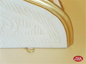 【イタリア製】【JHAアンティーク風コンソール】エレガンス4(アイボリー&ゴールド)W500×D200×H235軽量レジン製飾り棚ウォールシェルフ