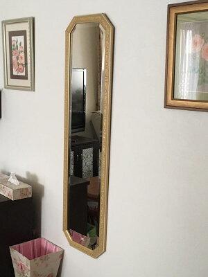 (デラックス:面取り)【送料無料】姿見姿見鏡【イタリア製】【JHAアンティーク風水ミラー】エクセレント(アイボリー・ゴールド)八角形W375×H1375IE-20八角姿見八角鏡八角ミラー壁掛け鏡壁掛けミラー(風水鏡玄関全身ミラーおしゃれ店舗)