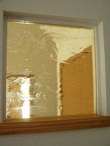 【JHAデザインガラス】 泡入り(ライトアンバー)・アートガラス 195X195【小窓用】(おしゃれ ステンドグラス アンティーク風 室内窓 小窓 FIX窓 ドア シンプル レトロ モダン 古民家 間仕切り壁