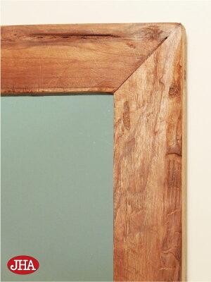 【チーク無垢材】壁掛け鏡・ウォールミラー【JHAアンティークミラー】アジアン・レトロモダン(オールドチーク古木)W600×H800(大)木枠ミラー
