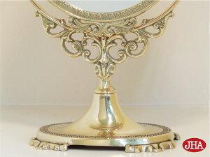 卓上ミラー・卓上鏡・テーブルミラー【イタリア製】【JHAアンティークミラー】真鍮製(ブラスIG-27)W265×H380スタンドミラー