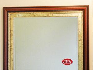 壁掛け鏡・ウォールミラー【イタリア製】【JHAアンティークミラー】デラックス3(ブラウン・ゴールド・ブラック)<横型>W1380×H780