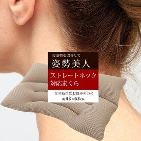 姿勢美人まくら 洗える 枕 ストレートネック まくら 肩こり 横向き寝 寝姿勢 スマホ首 約43×63cm いびき防止 イビキ対策 パイプ ベージュ 高さ調節 日本製 睡眠改善 いびきまくら 首こり
