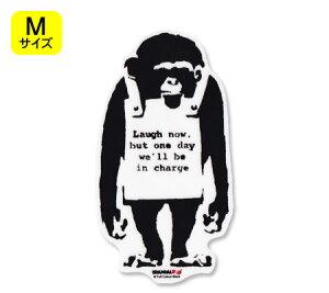 バンクシー ステッカー シール パソコン ウォールステッカー おしゃれ かっこいい スーツケース インテリア アウトドア キャンプ 車 BRANDALISED BANKSY Do Nothing-Monkeysign サイズM 【メール便OK】_S