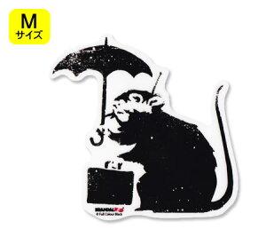 バンクシー ステッカー シール パソコン ウォールステッカー おしゃれ かっこいい スーツケース インテリア アウトドア キャンプ 車 BRANDALISED BANKSY Umbrella Rat サイズM 【メール便OK】_SC-BNK012M