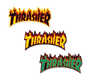 スラッシャー ステッカー ブランド かっこいい おしゃれ アウトドア アメリカン スケボー スケートボード ストリート 車 バイク スーツケース カーステッカー アメリカン雑貨 THRASHER FLAME BIG
