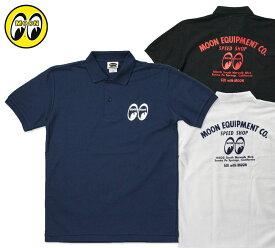 ムーンアイズ ポロシャツ メンズ 半袖 アメカジ おしゃれ かっこいい かわいい アメ車 ホットロッド レーシング モーター MOONEYES MOON Equipped Speed Shop Polo Shirt 【メール便OK】_TS-MQF033-MON
