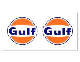 ステッカー 車 アメリカン おしゃれ バイク ヘルメット かっこいい オイル カーステッカー ガルフ Gulf ラウンドロゴ 2Pセット 【メール便OK】_SC-GULF002-HYS